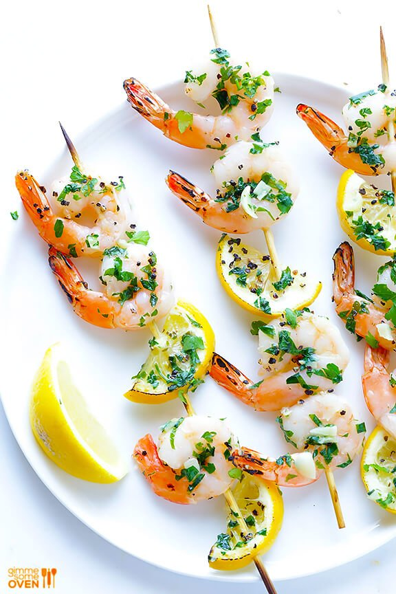 Shrimp Scampi Skewers Recipe | gimmesomeoven.com #glutenfree #seafood