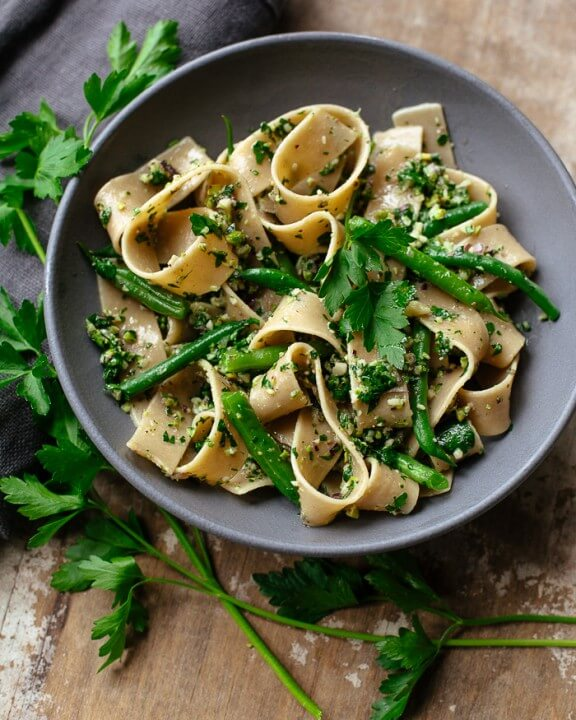 Pasta with Cutting Board Parsley Pesto