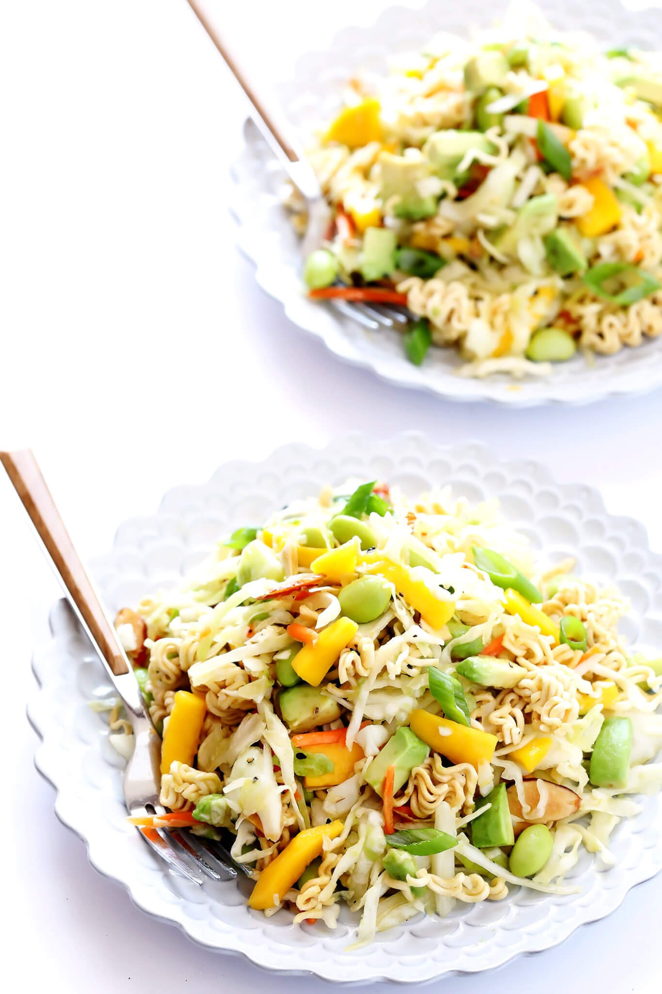 This Crunchy Asian Ramen Noodle Salad is easy to make, perfectly sweet and savory, and always the hit at a potluck! | gimmesomeoven.com