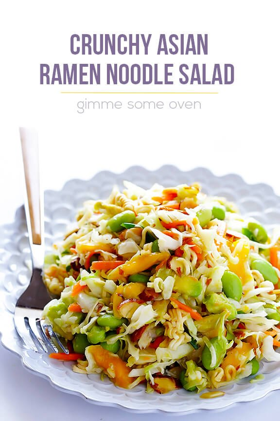 Crunchy asian ramen noodle salad a k a basically the best potluck