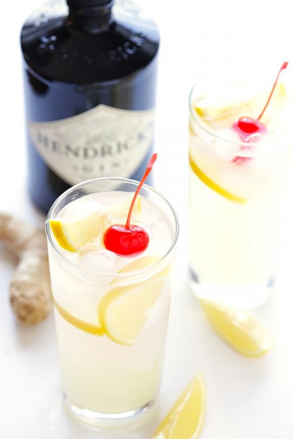 Ginger Tom Collins -- this spiked lemonade is made with a hint of ginger, and is so simple and refreshing! gimmesomeoven.com