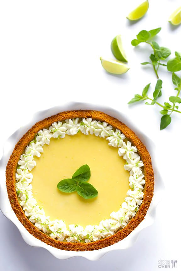 Mojito Pie -- basically a key lime pie with some mint (and rum!) muddled in | gimmesomeoven.com #dessert