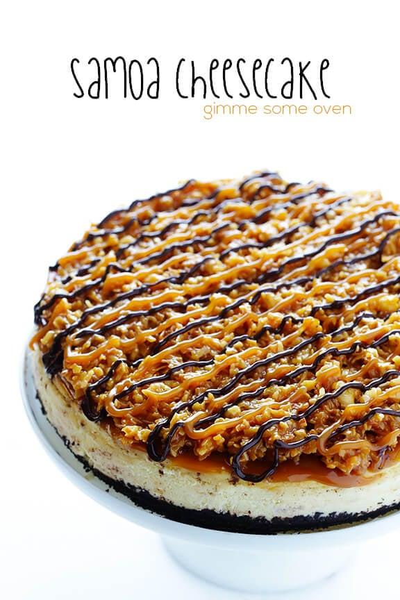 Samoa Cheesecake (a.k.a. Caramel DeLites Cheesecake) | gimmesomeoven.com #dessert