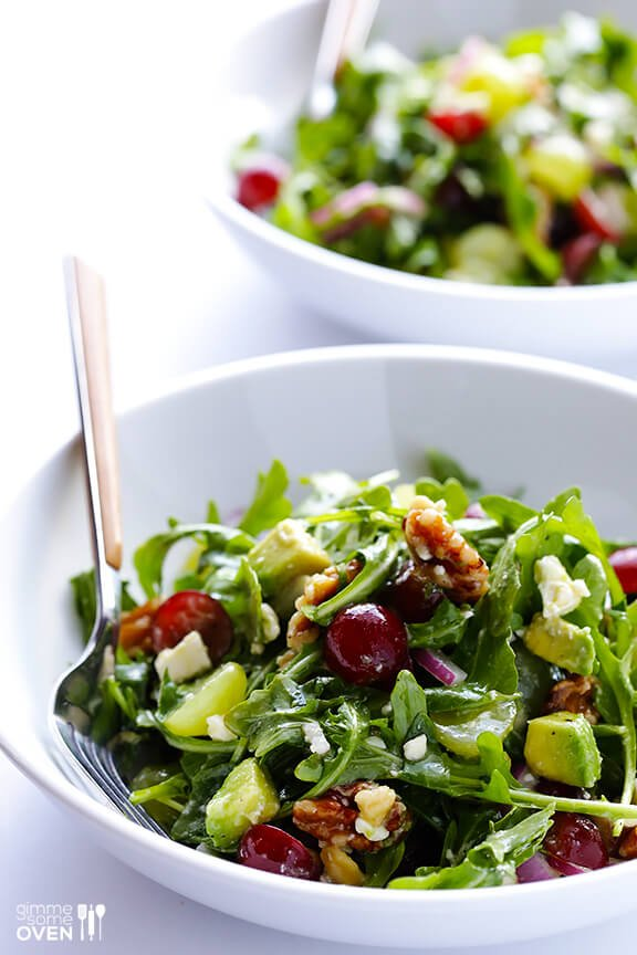 Grape, Avocado and Arugula Salad | gimmesomeoven.com