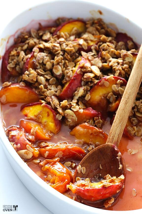 Ginger Peach Crumble | gimmesomeoven.com #dessert