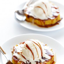 Easy Pineapple Foster -- Fresh pineapple soaked in rum+cinnamon+brown sugar, grilled, and topped with ice cream.  Amazing. | gimmesomeoven.com #dessert