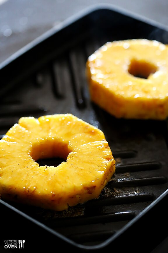 "Easy Rum-Soaked Grilled Pineapple -- this is a flameless and delicious take on ""pineapple foster"", and it's a definite crowd-pleaser! 