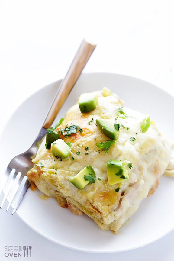 White Chicken Enchilada Casserole {Gimme Some Oven}