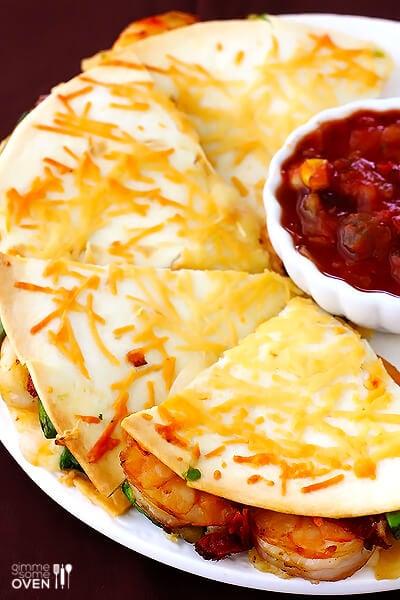 Parmesan-Crusted Shrimp Quesadillas | gimmesomeoven.com