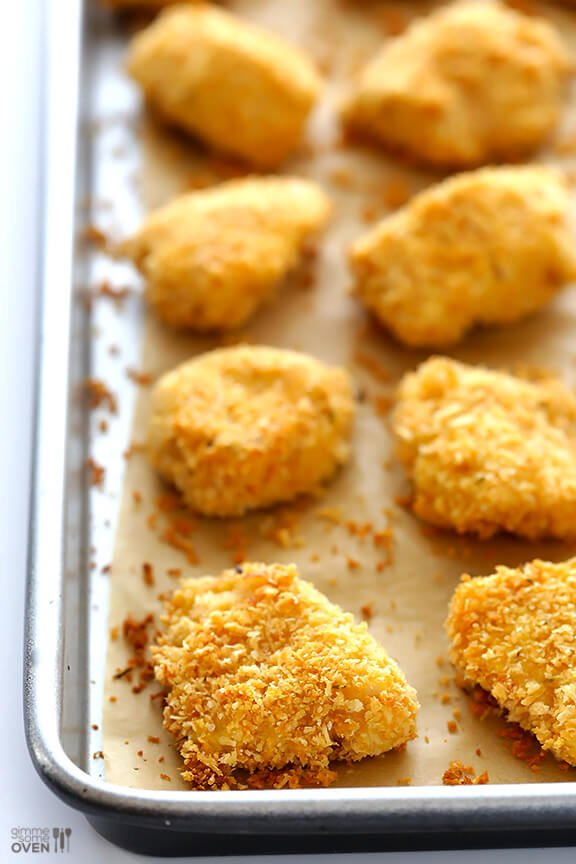 Parmesan Baked Chicken Nuggets Crispy Easy To Make And So Tasty