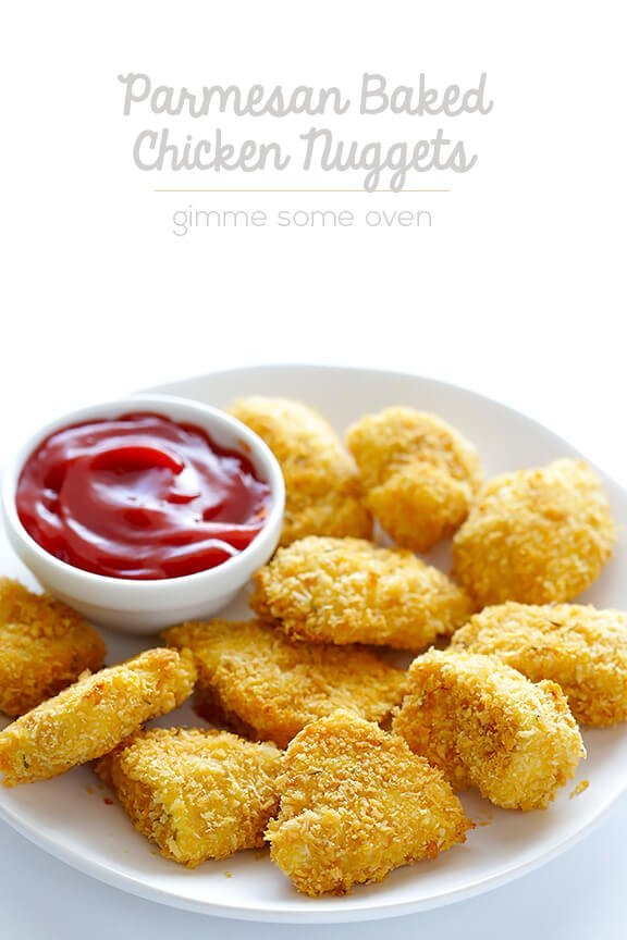 Parmesan Baked Chicken Nuggets -- crispy, easy to make, and SO tasty! | gimmesomeoven.com