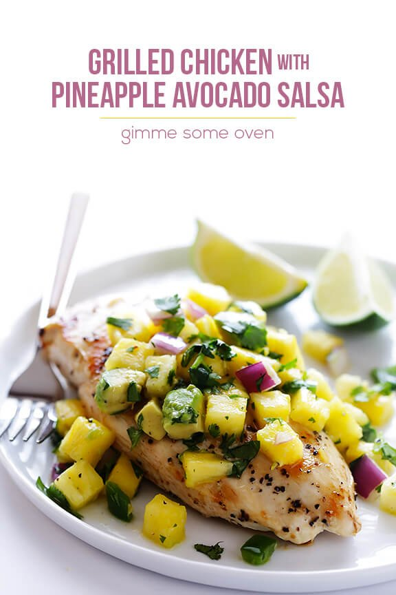 Grilled Chicken with Pineapple Avocado Salsa | gimmesomeoven.com