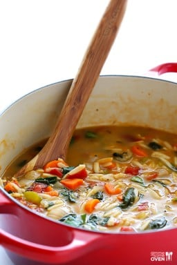 Italian Orzo Spinach Soup {Gimme Some Oven}