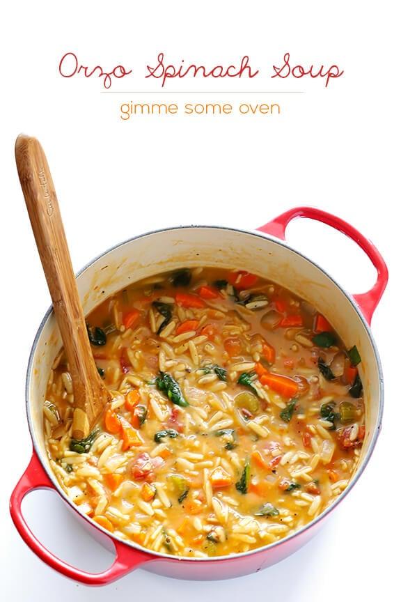 Italian Orzo Spinach Soup | gimmesomeoven.com #recipe