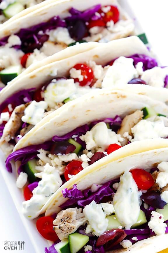 Greek Fish Tacos | gimmesomeoven.com #glutenfree