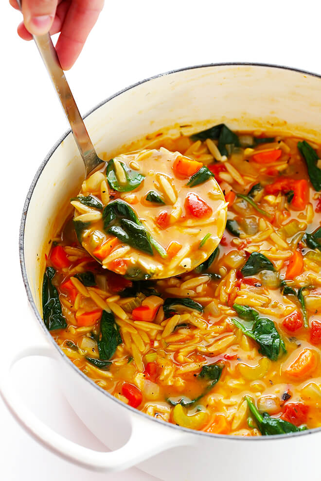 Italian Orzo Spinach Soup | Gimme Some Oven