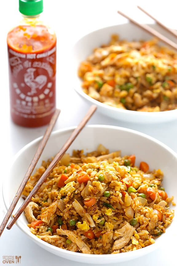 Spicy chicken fried rice gimme some oven spicy chicken fried rice kicked up a notch with some sriracha and ready ccuart