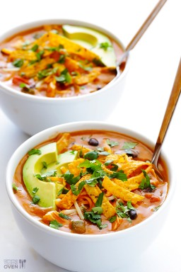 20-Minute Cheesy Chicken Enchilada Soup {Gimme Some Oven}