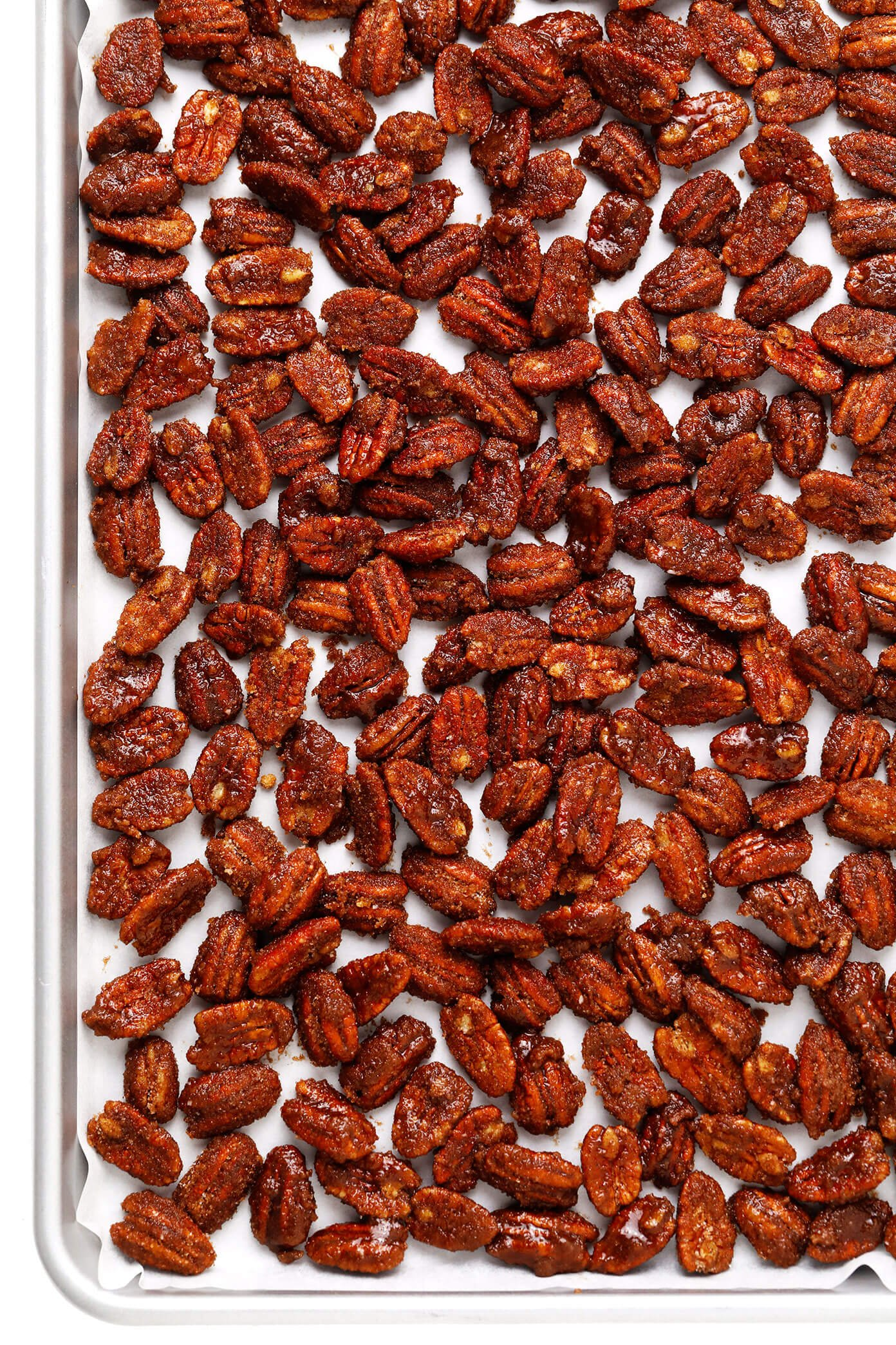 Prepping candied pecans for baking