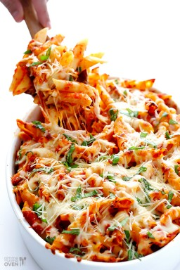 Chicken Parmesan Baked Ziti {Gimme Some Oven}