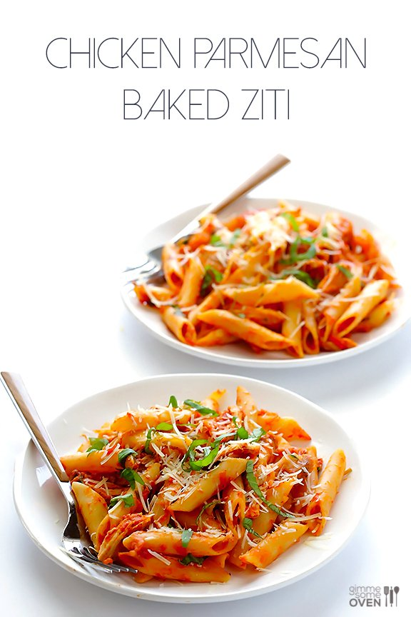 Chicken Parmesan Baked Ziti -- all you need are 6 simple ingredients for this comforting and delicious dish! | gimmesomeoven.com