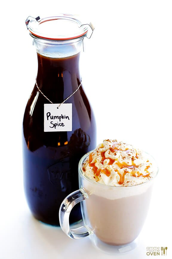 Homemade pumpkin spice latte recipe with pumpkin spice syrup