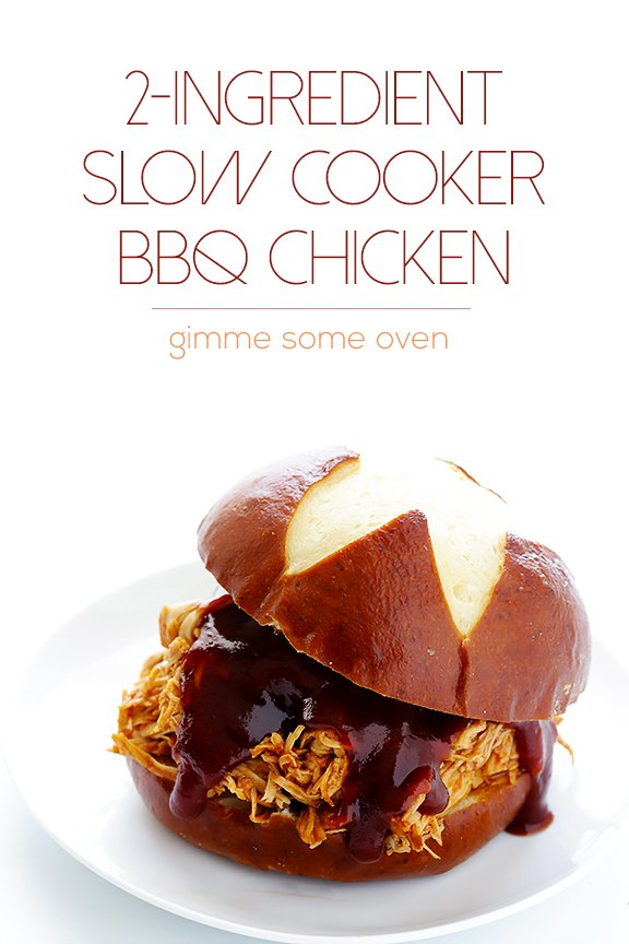 2-Ingredient Slow Cooker BBQ Shredded Chicken | gimmesomeoven.com #crockpot #slowcooker