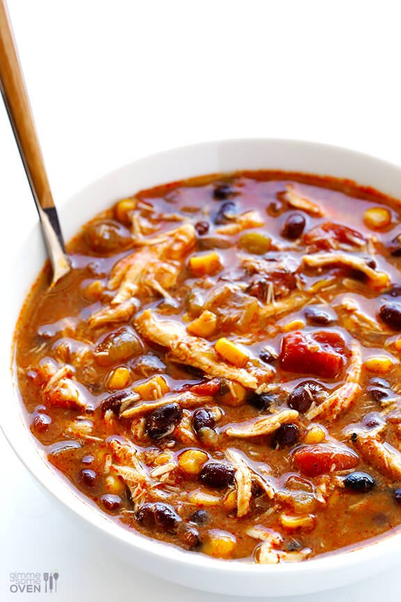 Slow Cooker Chicken Enchilada Soup | gimmesomeoven.com #crockpot