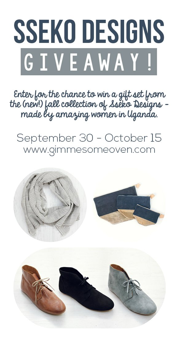 Enter for a chance to win a $250 gift set from Sseko Designs, made by women in Africa | gimmesomeoven.com