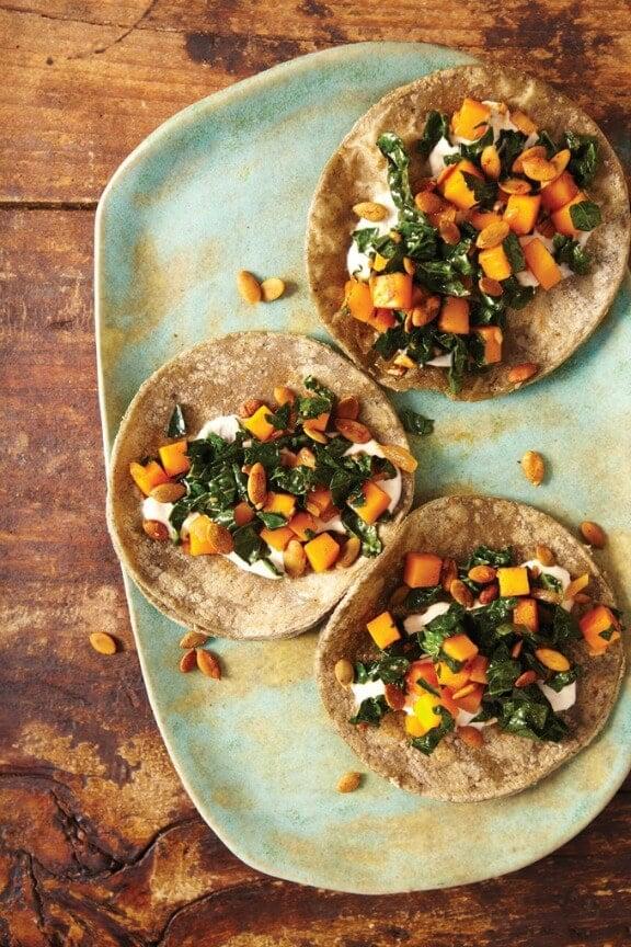 Butternut Squash, Kale and Pepitas Crunchy Tacos   cookbooks365.com