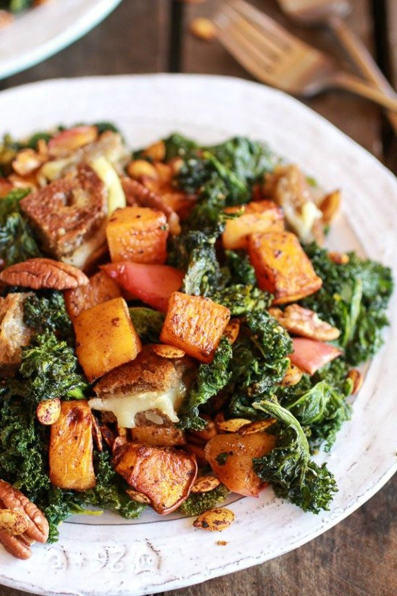 Crispy Kale Roasted Autumn Salad with Brie Grilled Cheese Croutons | halfbakedharvest.com