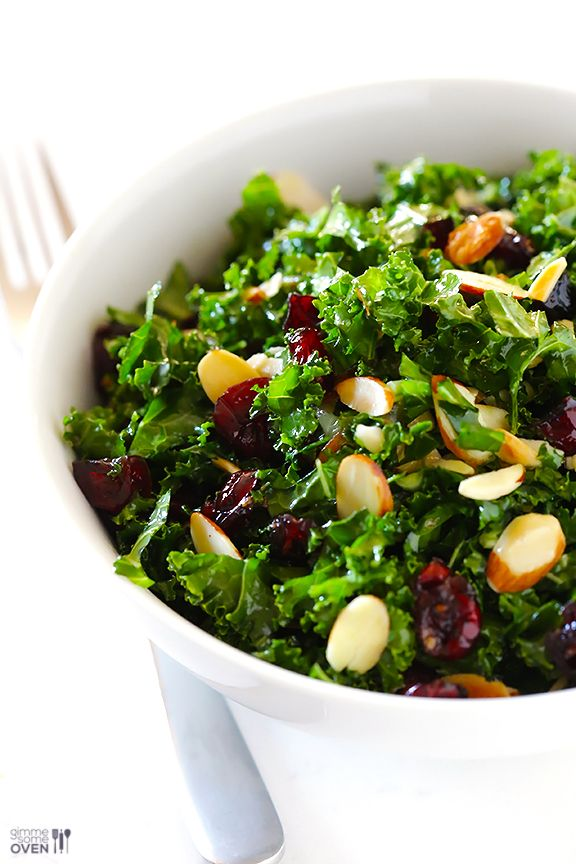 Kale Salad with Warm Cranberry Almond Vinaigrette | gimmesomeoven.com