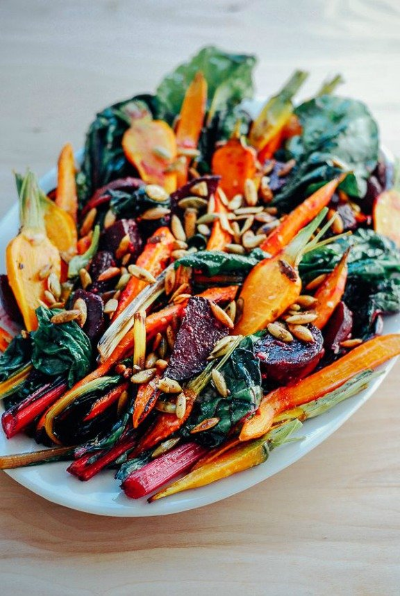 Roasted Vegetable Salad with Garlic Dressing and Toasted Pepitas | brooklynsupper.net