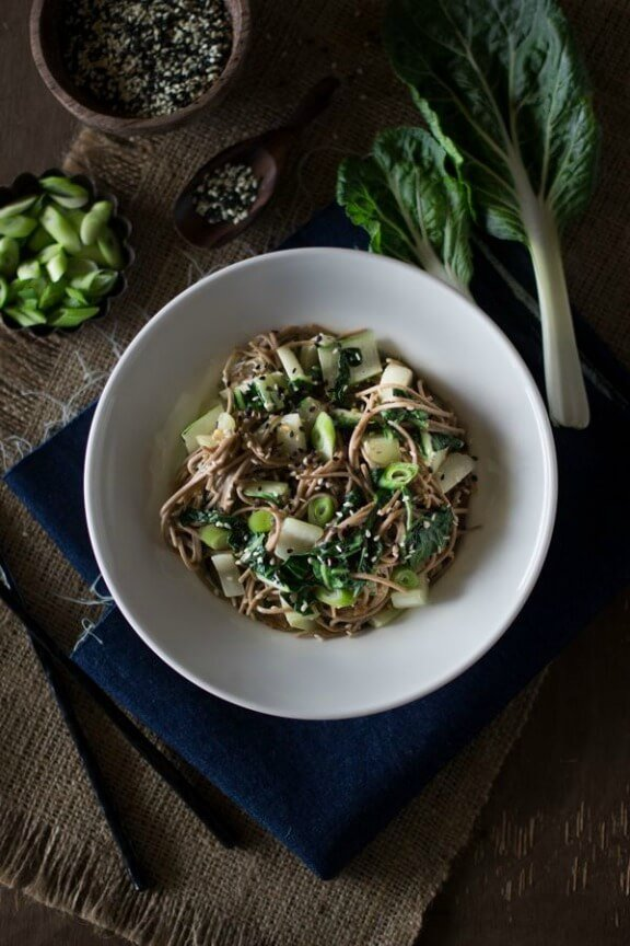 easy vegan dinner recipes-Soba Noodles with Bok Choy and Garlicky Miso-Tahini Sauce | foolproofliving.com