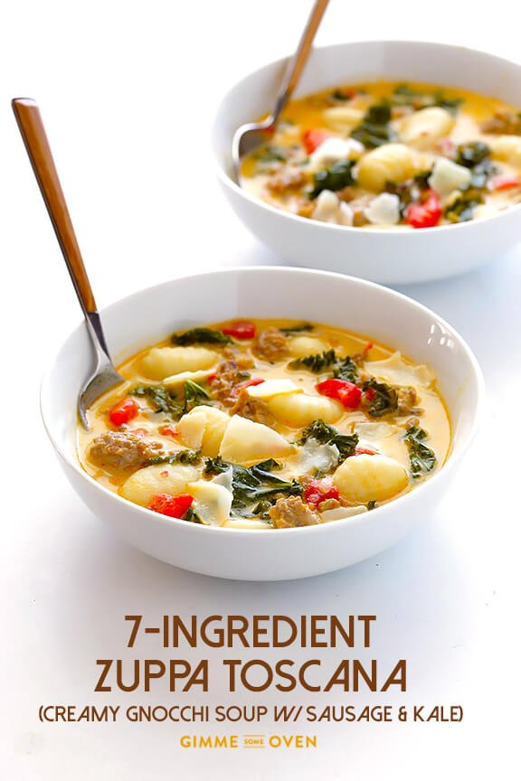 7Ingredient Easy Zuppa Toscana Creamy Gnocchi Soup with Kale and