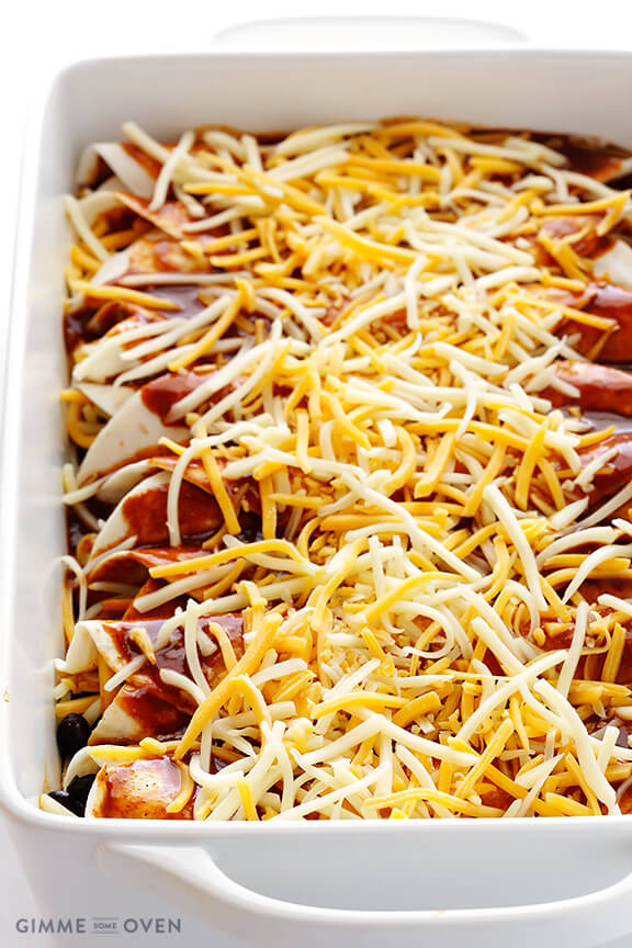 Chicken Enchiladas with Cheese and Black Beans