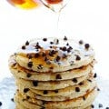 Guiltless Chocolate Chip Pancakes | gimmesomeoven.com #breakfast