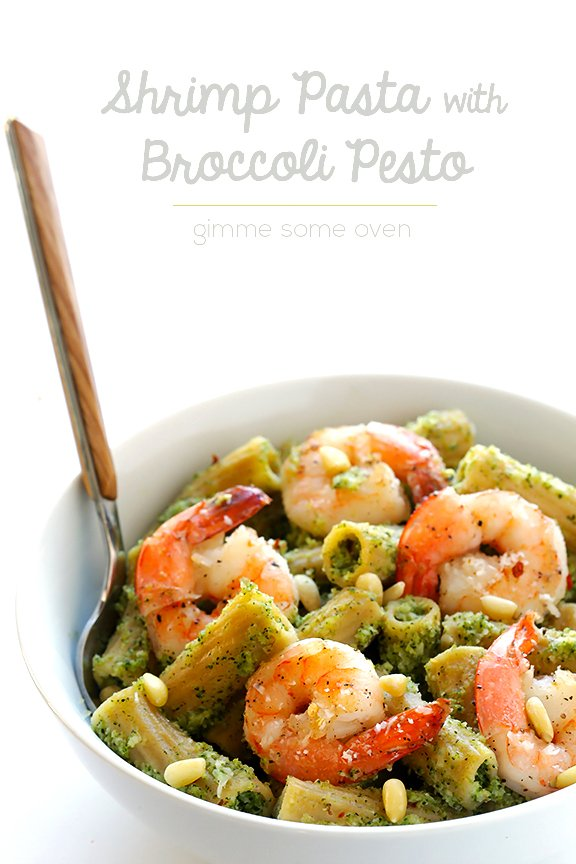 Shrimp Pasta with Broccoli Pesto + Cuisinart Food Processor GIVEAWAY