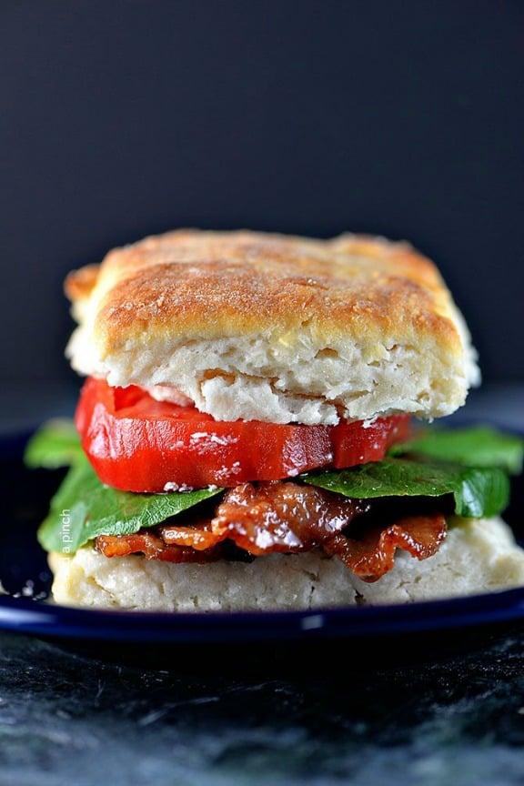 Biscuit BLT Sandwich | addapinch.com