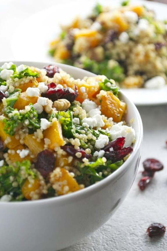 Butternut Squash Quinoa with Kale, Cranberries, Walnuts and Goat Cheese | stuckonsweet.com