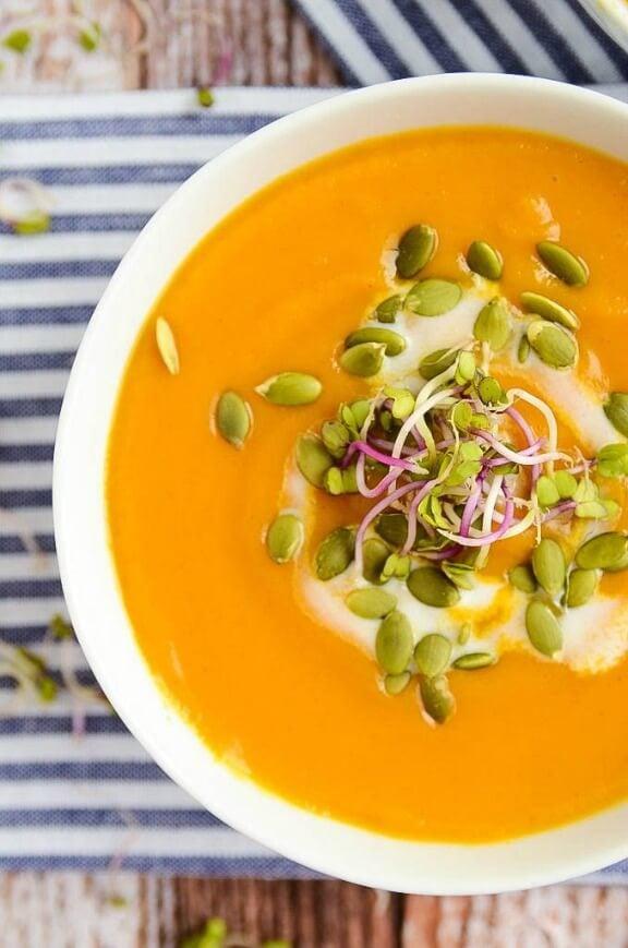 Butternut Squash and Sweet Potato Soup   blissfulbasil.com