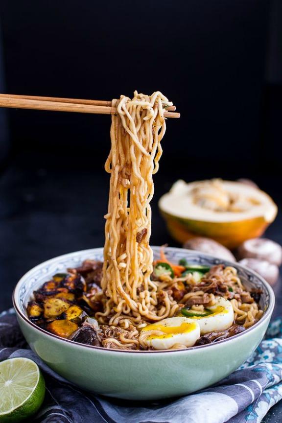 Crockpot Caramelized Pork Ramen Noodle Soup with Curry Roasted Acorn Squash | halfbakedharvest.com