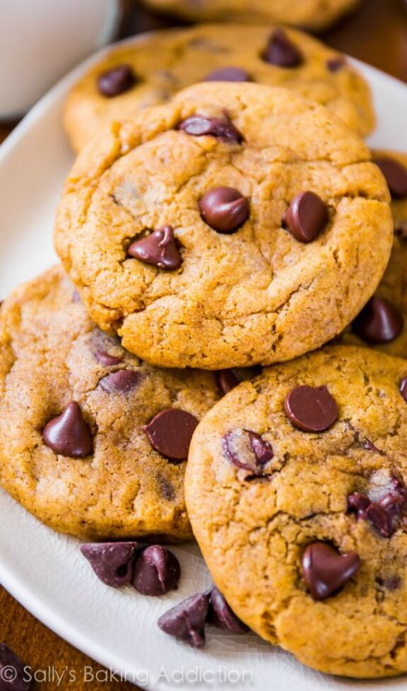 pumpkin chocolate chip cookies | sallysbakingaddiction.com