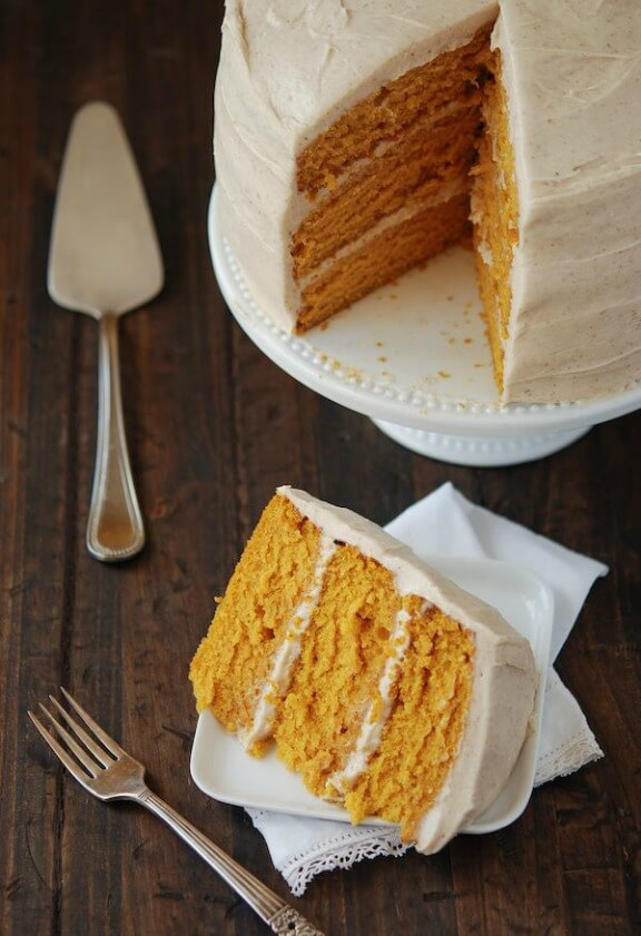 Pumpkin Dream Cake with Cinnamon Maple Cream Cheese Frosting| thenovicechefblog.com