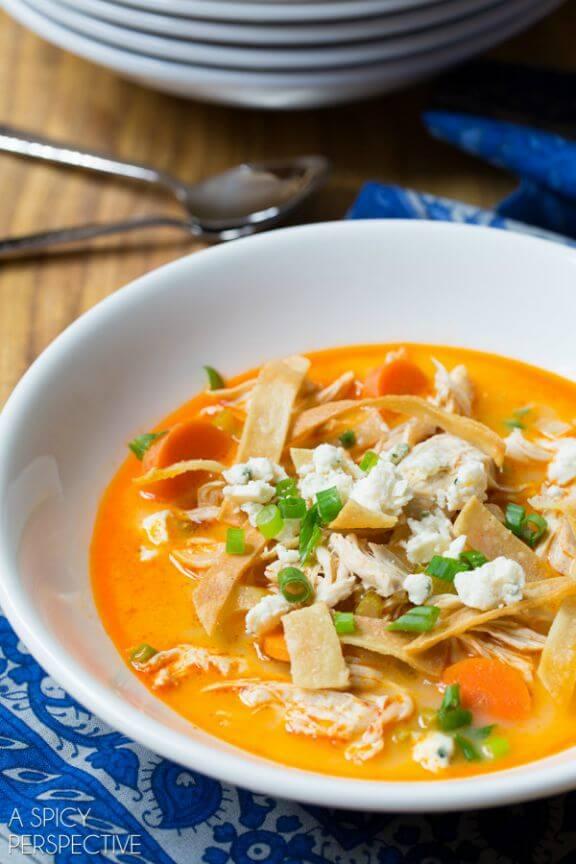 Slow Cooker Buffalo Chicken Soup | aspicyperspective.com