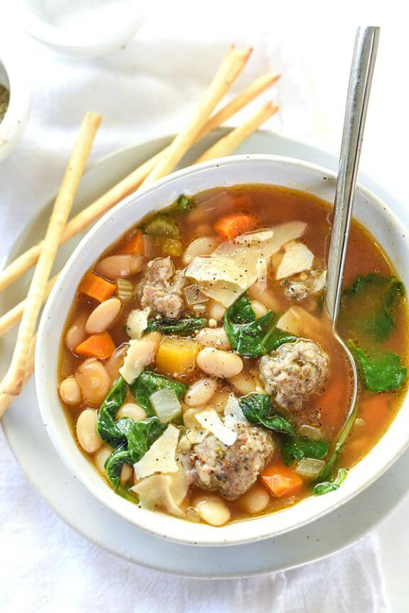 Slow Cooker Tuscan White Bean Soup with Sausage | foodiecrush.com