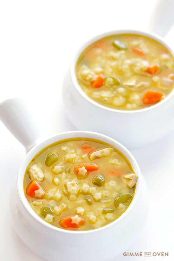 Chicken and Stars Soup -- quick, easy, all-natural, and SO good | gimmesomeoven.com