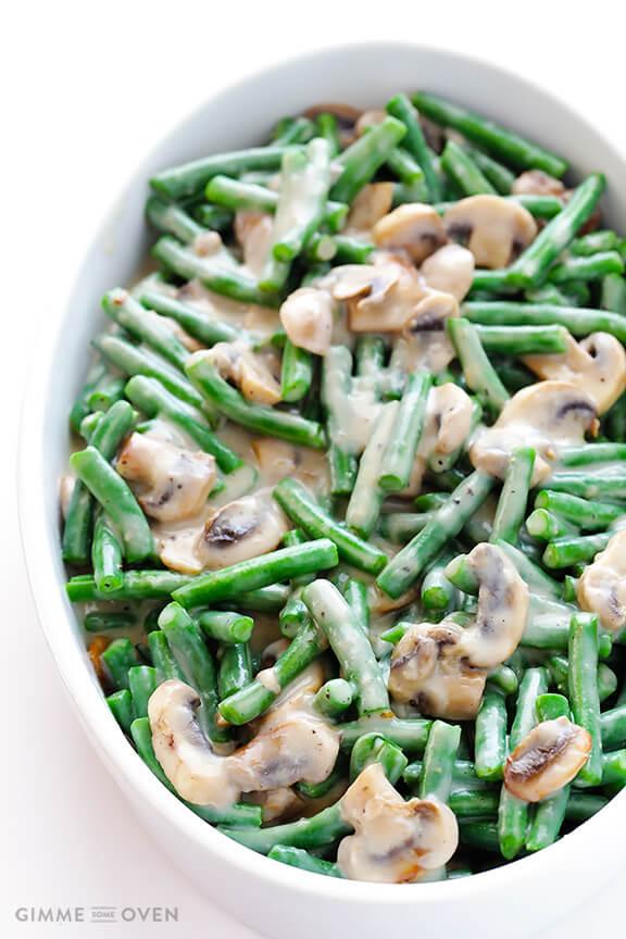 Healthier Green Bean Casserole | gimmesomeoven.com #thanksgiving