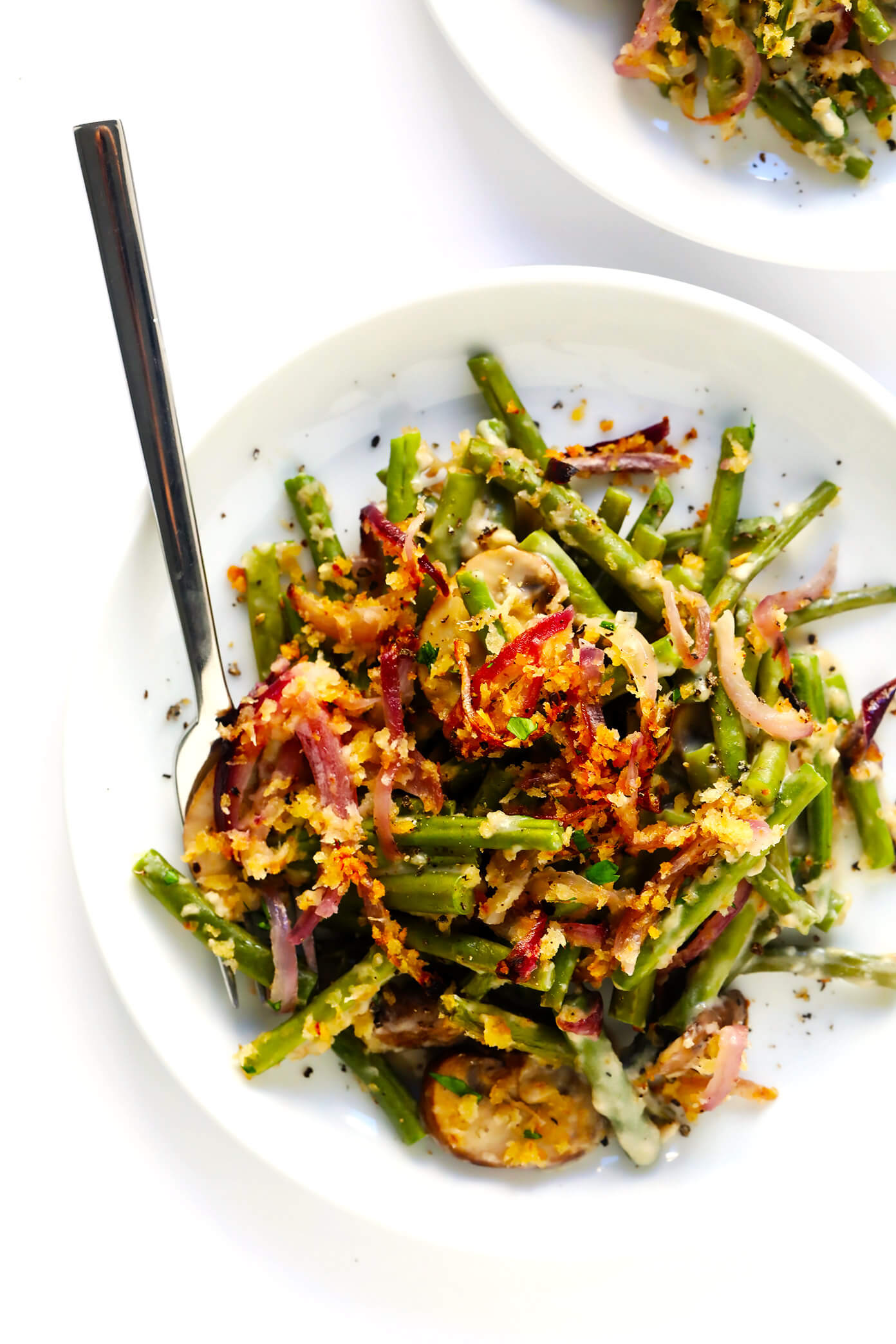 Healthy Green Bean Casserole Recipe with Crispy Onion Topping