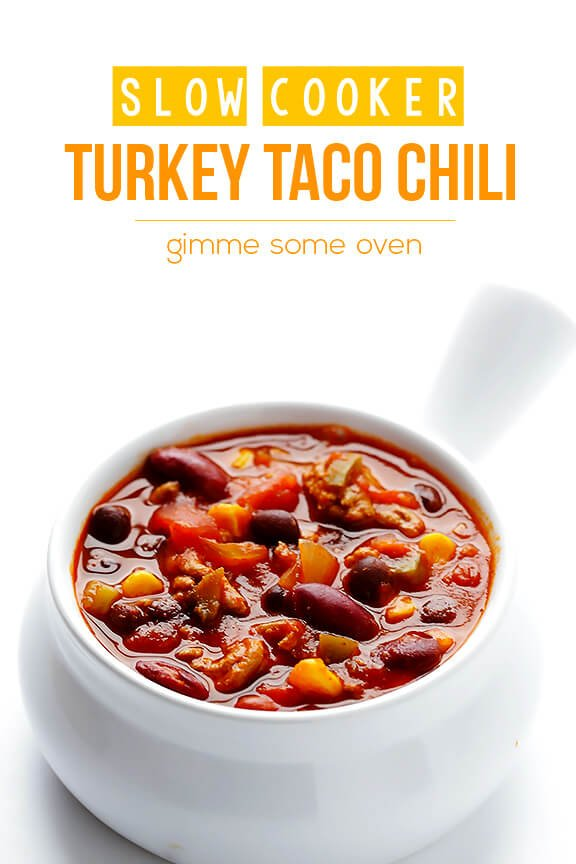 Slow Cooker Turkey Taco Chili | gimmesomeoven.com